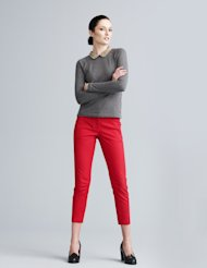 Pair your colored pants with neutrals for a stylish look.