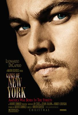 Leonardo DiCaprio in a movie poster for Miramax's Gangs of New York