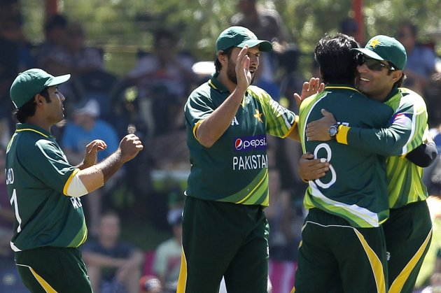 Pakistan's players celebrate the dismissal of South Africa's Amla, who was caught out by Malik, during their One day International cricket match in Bloemfontein
