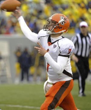 Bowling Green's Matt Schilz attempts a pass during the first quarter of an NCAA college football game Saturday, Oct. 1, 2011 in Morgantown, W.Va. (AP Photo/Tyler Evert)