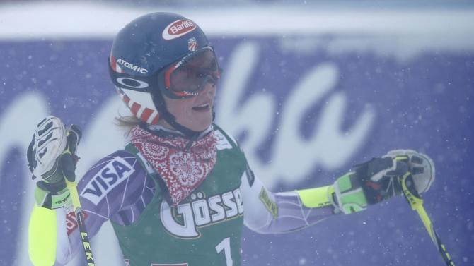 Shiffrin from the US reacts after her second run of the World Cup Women's Giant Slalom race in Kuehtai ski resort