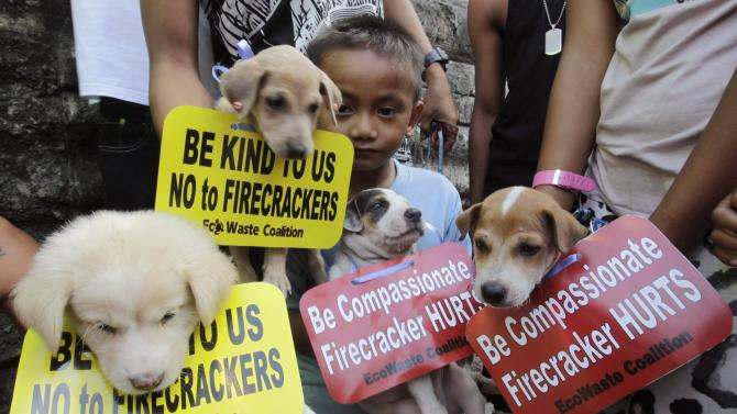 Animal lovers carry their pets as they urge the public to refrain from using firecrackers to welcome the New Year, in Manila