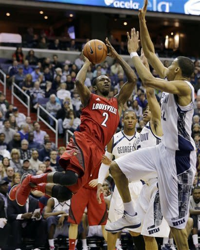 Georgetown upsets No. 5 Louisville 53-51