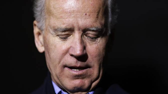 Vice President Joe Biden looks down as he speaks during a campaign rally at Superior Middle School, Friday, Nov. 2, 2012, in Superior, Wis. (AP Photo/Matt Rourke)