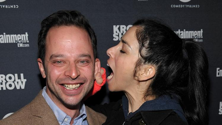 "IMAGE DISTRIBUTED FOR ENTERTAINMENT WEEKLY - Actor/comedians Nick Kroll, left, and Sarah Silverman attend an exclusive screening of Comedy Central's ""Kroll Show"" hosted by Entertainment Weekly on Tuesday, January 15, 2013 at LA's Silent Movie Theatre in Los Angeles. (Photo by John Shearer/Invision for Entertainment Weekly/AP Images)"