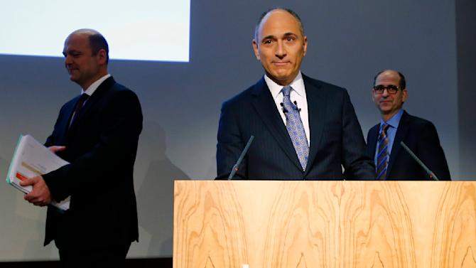 CEO Jimenez of Swiss drugmaker Novartis, CFO Kirsch and Epstein, Division Head of Novartis Pharmaceuticals arrive before the annual news conference in Basel