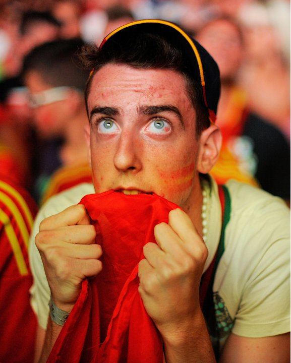 Spanish Fans Watch The UEFA …