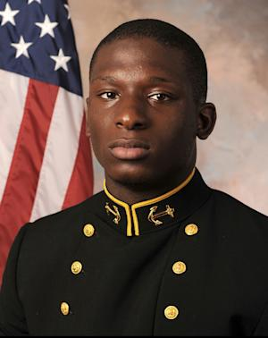 FILE - This July, 24, 2013 file photo provided by the U.S. Naval Academy shows Midshipman Joshua Tate, a former U.S. Naval Academy football player accused of sexual assault. Lawyers are expected to give opening statements Tuesday in the court-martial of Joshua Tate of Nashville, Tenn. Opening statements had been scheduled for Monday but were delayed because of snow. (AP Photo/U.S. Naval Academy, File)