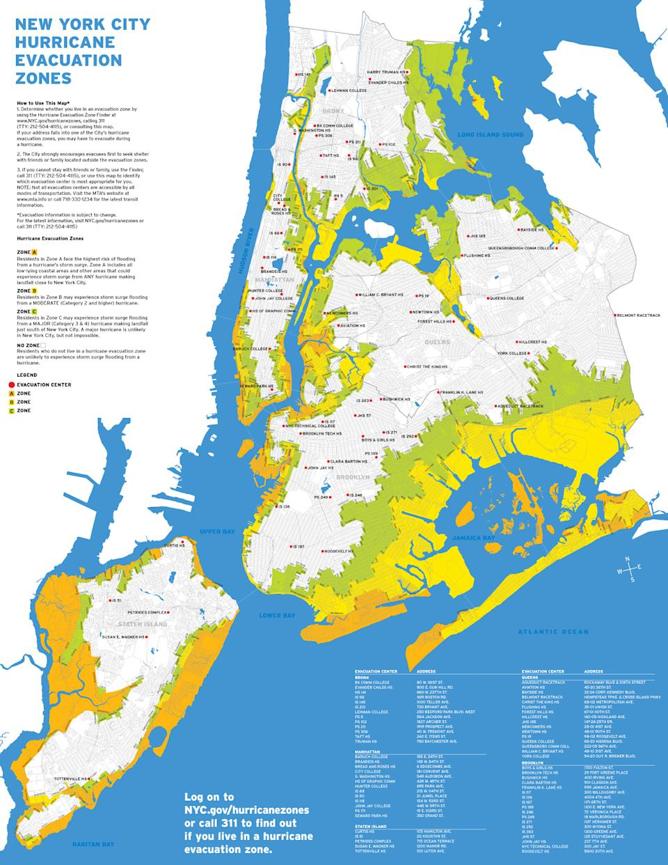 In this image taken from the New York City Office of Emergency Management website, a map detailing the New York City's evacuation plan for Hurricane Irene is show. Bloomberg is urging residents of the city's low-lying areas to begin evacuating Friday, Aug. 26. (AP Photo/NYC Office of Emergency Management)