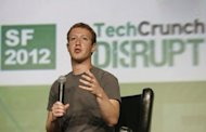 Facebook founder Mark Zuckerberg speaks at the TechCrunch Disrupt SF 2012 conference in San Francisco last month