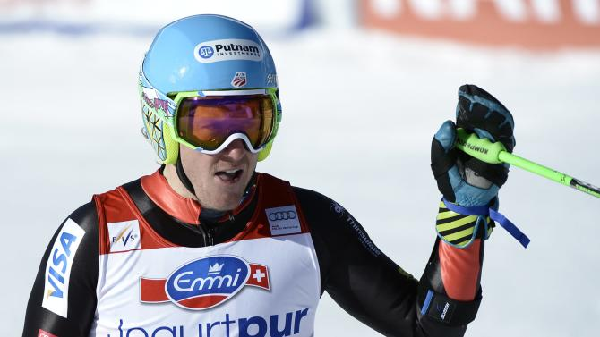 Ted Ligety of US reacts in the finish area during the men's World Cup giant slalom at the Alpine Ski World Cup finals in Parpan - Lenzerheide, Switzerland, Saturday, March 16, 2013. (AP Photo/Keystone, Laurent Gillieron)