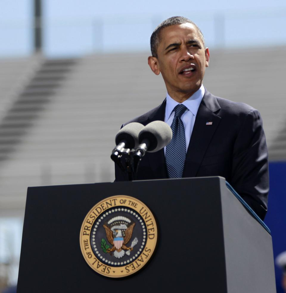 President Barack Obama delivers the commencement address at the U.S. Air Force Academy, Wednesday, May 23, 2012, in Colorado Springs, Colo.(AP Photo/Pablo Martinez Monsivais)