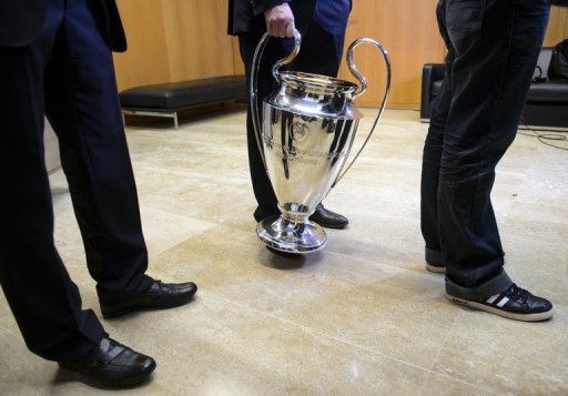 A picture taken on December 20, 2012 at UEFA headquarters in Nyon shows the Champions League trophy. Champions League ties were among some 380 games said to have been targeted by match-fixing cartels.
