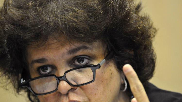 Minister Izabella Teixeira speaks during a news conference to announce