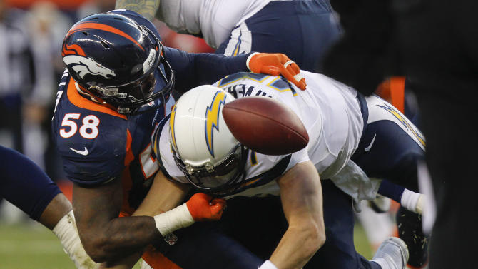 San Diego Chargers quarterback Philip Rivers (17) fumbles the ball as he is sacked by Denver Broncos outside linebacker Von Miller (58) in the third quarter of an NFL football game, Sunday, Nov. 18, 2012, in Denver. (AP Photo/David Zalubowski)