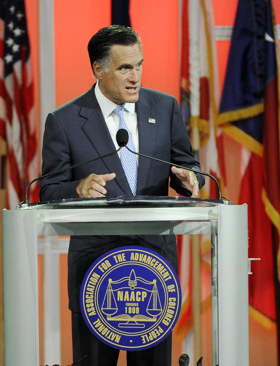 Republican presidential candidate, former Massachusetts Gov. Mitt Romney gestures during a speech to the NAACP annual convention, Wednesday, July 11, 2012, in Houston. (AP Photo/Pat Sullivan)