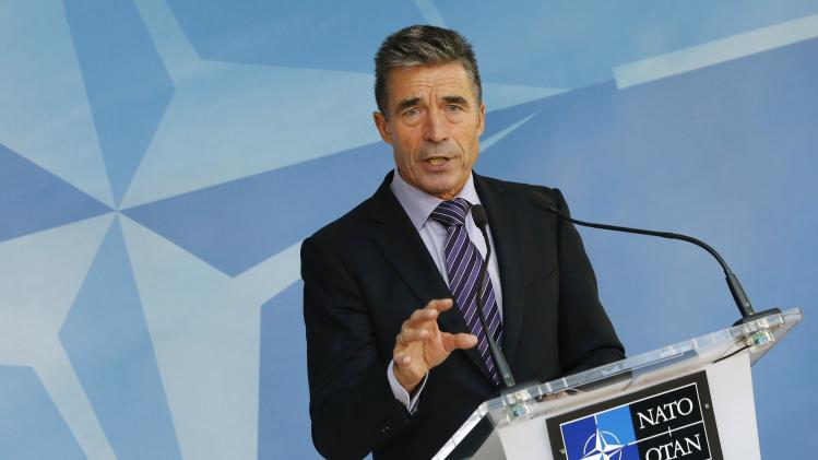 NATO Secretary General Anders Fogh Rasmussen speaks during a news conference at the Alliance headquarters in Brussels