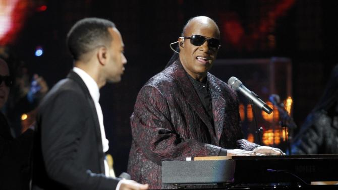Wonder performs with Legend for as Withers is inducted during the 2015 Rock and Roll Hall of Fame Induction Ceremony in Cleveland