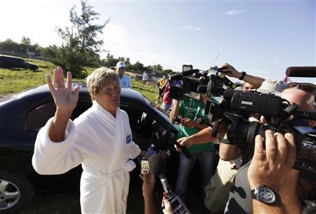 U.S. long-distance swimmer Diana Nyad talks to the media before her attempt to swim to Florida from Havana
