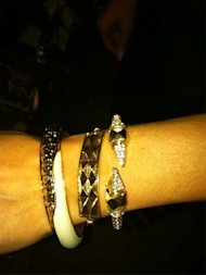  From left to right: Leather Nugget Bracelet, $60; Studded Ankle Bracelet, $23 (worn as wrist bracelet); Dagger Glam Rock Bracelet, $48 