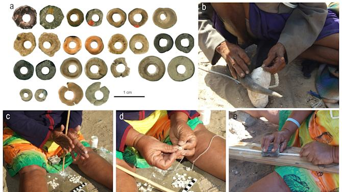 This compilation of 5 photos supplied by the University of the Witwatersrand shows ostrich eggshell beads (A) dated 44,856 to 41,010 old. The sequel shows similar production techniques as those used by Kalahari San women including, shaping using a horn and stone anvil (B) drilling to produce perforations (C) stringing with vegetal twine (D) and smoothing with a grooved stone. (AP Photo / Lucinda Blackwell-University of the Witwatersrand HO)