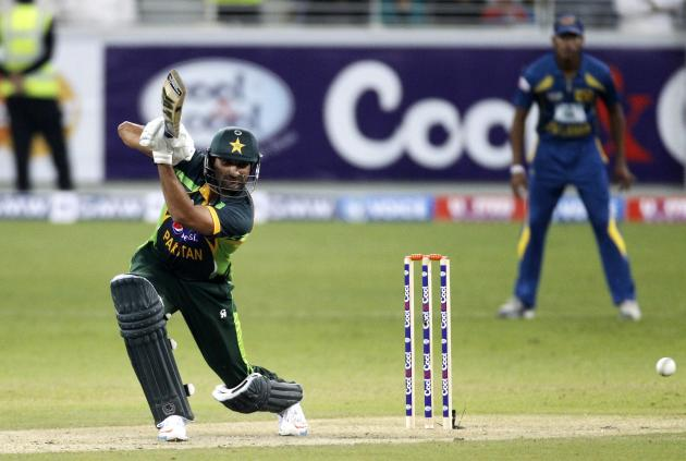Pakistan's Tanvir plays a shot during their second Twenty20 international cricket match against Sri Lanka in Dubai