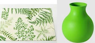 green placemat and vase