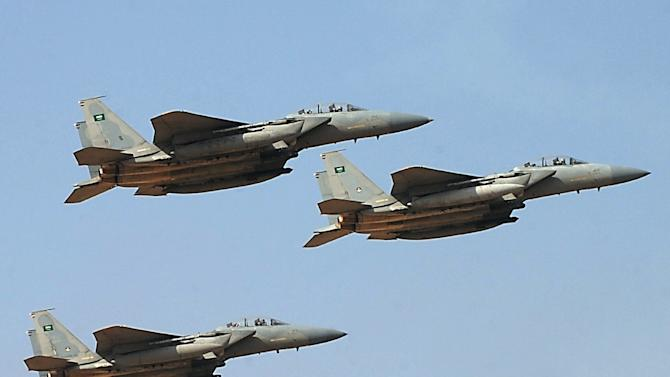 File picture shows jet fighters of the Saudi Royal air force performing during a graduation ceremony at the Riyadh military airport, in the Saudi capital