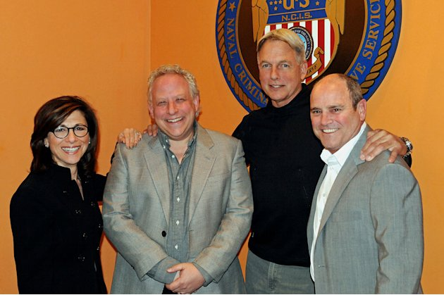 "President of CBS Entertainment Nina Tassler, Executive Producer Gary Glasberg, Mark Harmon, and President of CBS Television Studios David Stapf attend CBS' ""NCIS"" celebration of their 200th episode on"