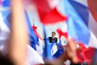 French President Nicolas Sarkozy delivers a speech during a campaign meeting at the Trocadero square in Paris. Sarkozy staged a huge election rally on Tuesday to rival France&#39;s traditional May Day show of force by the left, as Marine Le Pen scornfully rejected his bid to woo her far-right supporters
