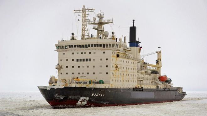 A Russian nuclear-powered ice-breaker ship