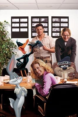 Daffy Duck, Bugs Bunny, Jenna Elfman , Brendan Fraser , Steve Martin and The Tazmanian Devil at a table reading for Warner Bros. Looney Tunes: Back in Action