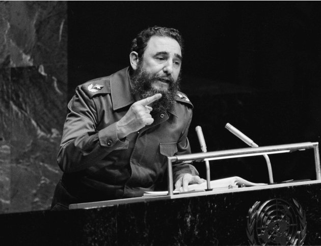 This Oct. 12, 1979 file photo shows Cuban dictator Fidel Castro gesturing as he speaks at the United Nations. Five games into his tenure with the Marlins, motor mouth manager Ozzie Guillen is returnin