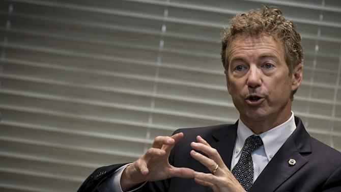Republican U.S. Presidential candidate and Senator of Kentucky Rand Paul speaks to supporters during a campaign event at the National Society for Hebrew Day Schools in the Brooklyn borough of New York