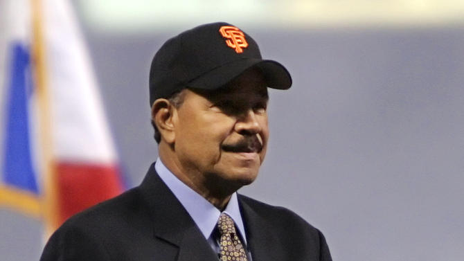 FILE - In this Oct. 26, 2005, file photo, baseball great Juan Marichal stands during a pregame ceremony introducing the Latino Legends baseball team before Game 4 of the World Series between the Chicago White Sox and Houston Astros in Houston.  (AP Photo/Eric Gay, File)