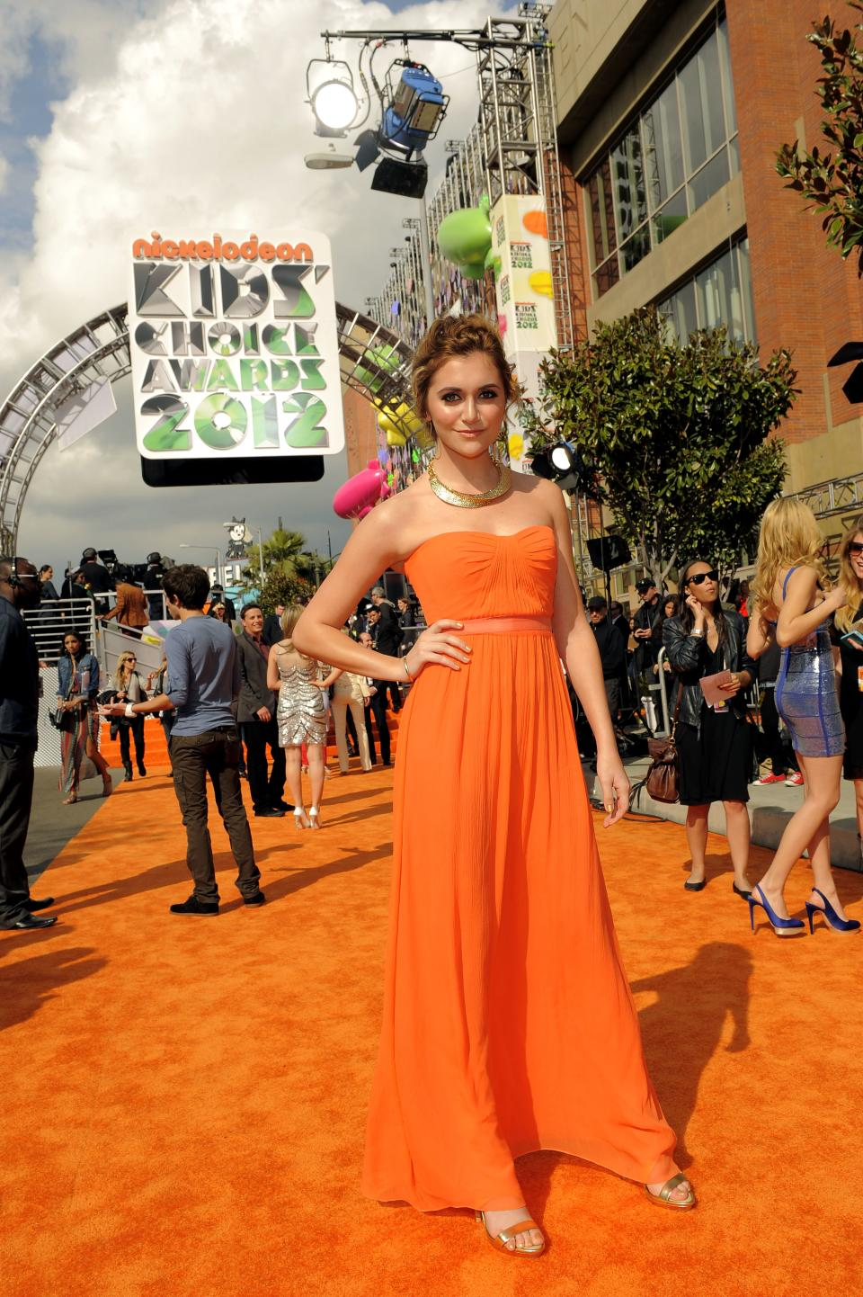 Alyson Stoner arrives at Nickelodeon's 25th Annual Kids' Choice Awards on Saturday, March 31, 2012 in Los Angeles. (AP Photo/Chris Pizzello)