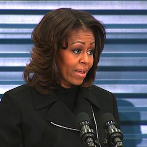 Michelle Obama thanks Toys for Tots volunteers