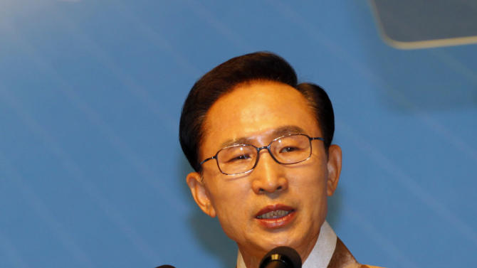 South Korean President Lee Myung-bak speaks during a ceremony to celebrate Korean Liberation Day from Japanese colonial rule in 1945, in Seoul, South Korea, Monday, Aug. 15, 2011. (AP Photo/Lee Jae-won, Pool)