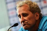 Sweden's head coach Erik Hamren reacts during a press conference at the Platium hotel near Kiev on June 12, 2012 during the Euro 2012 football championships.     AFP PHOTO/ JONATHAN NACKSTRAND