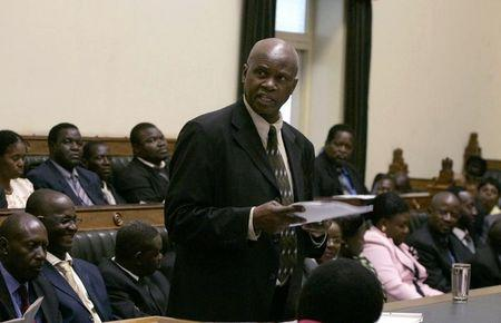Zimbabwe's acting Minister of Finance Patrick Chinamasa addresses the parliament in Harare