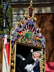 A puppet of Queen Victoria features in a Punch & Judy show during a weekend of performances and shows. Dozens of puppeteers gathered in central London on Sunday to celebrate 350 years of the Punch and Judy show, an anarchic English seaside entertainment known for its slapstick and casual violence