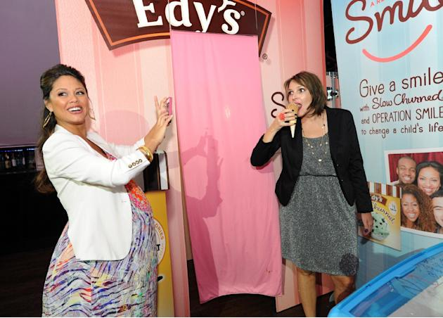 COMMERCIAL IMAGE -   Mom-to-be Vanessa Lachey, left, joined Edy's Slow Churned Light Ice Cream at the SocialLuxe Lounge, Thursday, August 2, 2012, in New York,  to capture photos of influential blogge