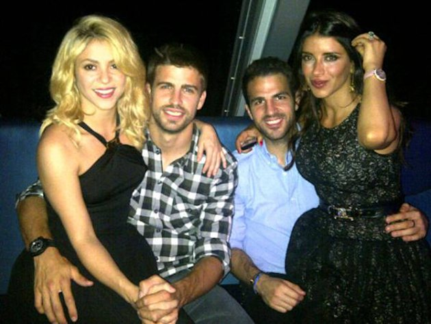 Gerard Piqueposed this image on Twitter of himself with Shakira, Cesc Fbregas and Daniella Semaan  with the caption &amp;#39;Enjoying a great night!&amp;#39;Credit: Gerard Pique/TwitterSupplied by WENN.com(W