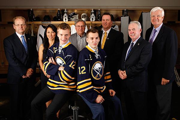 Buffalo Sabres - with owner Terry Pegula, team president Ted Black, GM Darcy Regier and draft picks Mikhail Grigorenko and Zemgus Girgensons