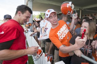 Johnny Manziel had a few admirers on Saturday at Browns training camp. (Getty Images)