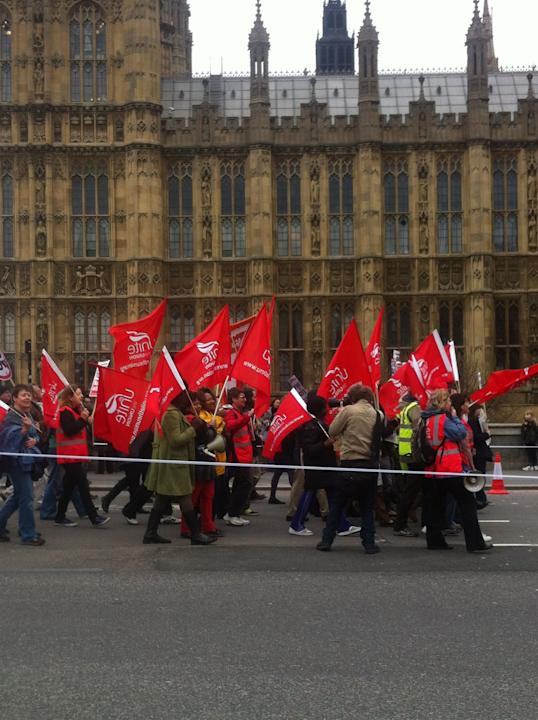 Unite protesters outside Parliament
