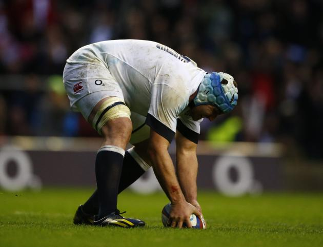 England's Morgan touches down to score a try against Argentina during their international rugby union match at Twickenham in London