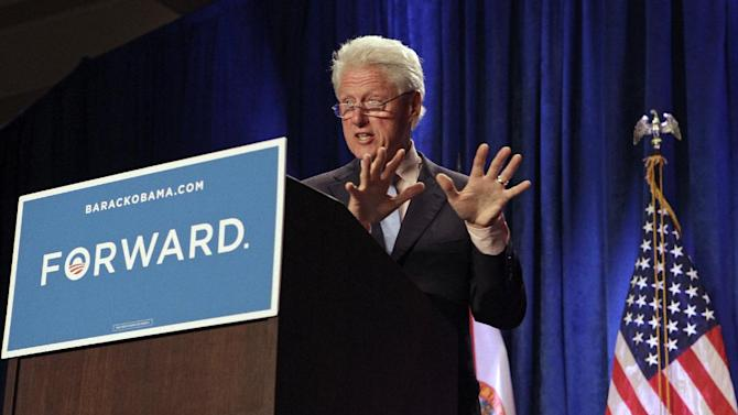 Former President Bill Clinton speaks at a campaign event, Wednesday, Sept. 12, 2012, in Orlando, Fla., as he campaigns for President Barack Obama. (AP Photo/John Raoux)