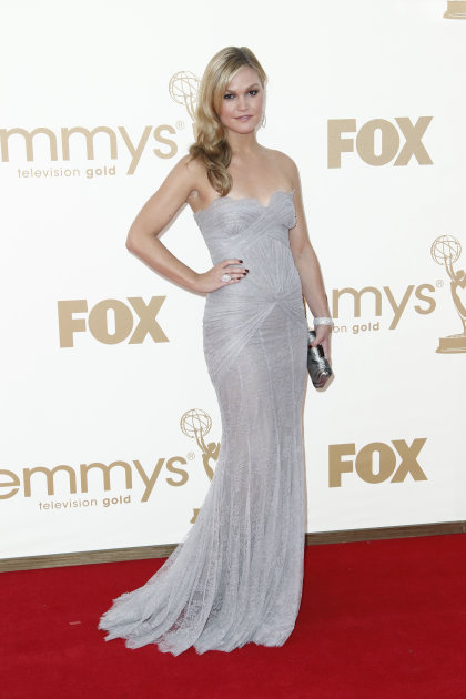 Julia Stiles arrives at the 63rd Primetime Emmy Awards on Sunday, Sept. 18, 2011 in Los Angeles. (AP Photo/Matt Sayles)