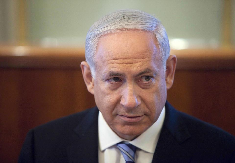 Israeli Prime Minister Benjamin Netanyahu attends the weekly cabinet meeting in his Jerusalem office, Sunday, July 1, 2012. (AP Photo/Abir Sultan, Pool)